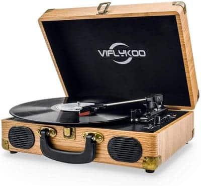 Tocadiscos Estilo Vintage Diseño de Maleta Viflykoo