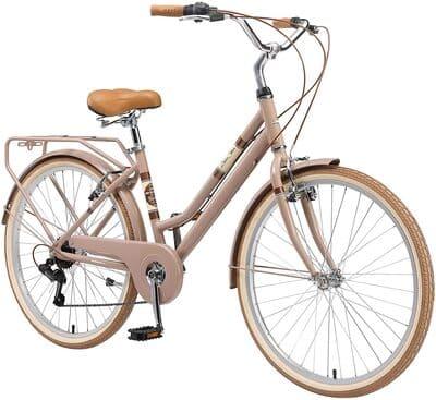 """Bicicleta de ciudad Bikestar con canasta. Rueda de 28"""" Marrón"""