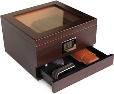 Humidor de cedro hecho a mano con higrómetro digital Case Elegance