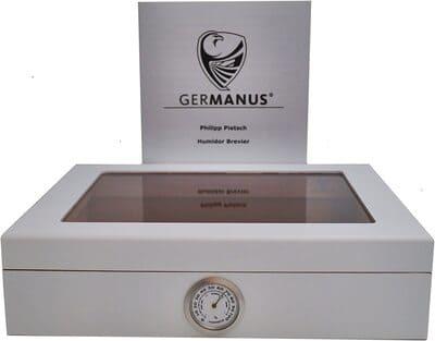 Humidor de puros blanco con higrómetro Germanus